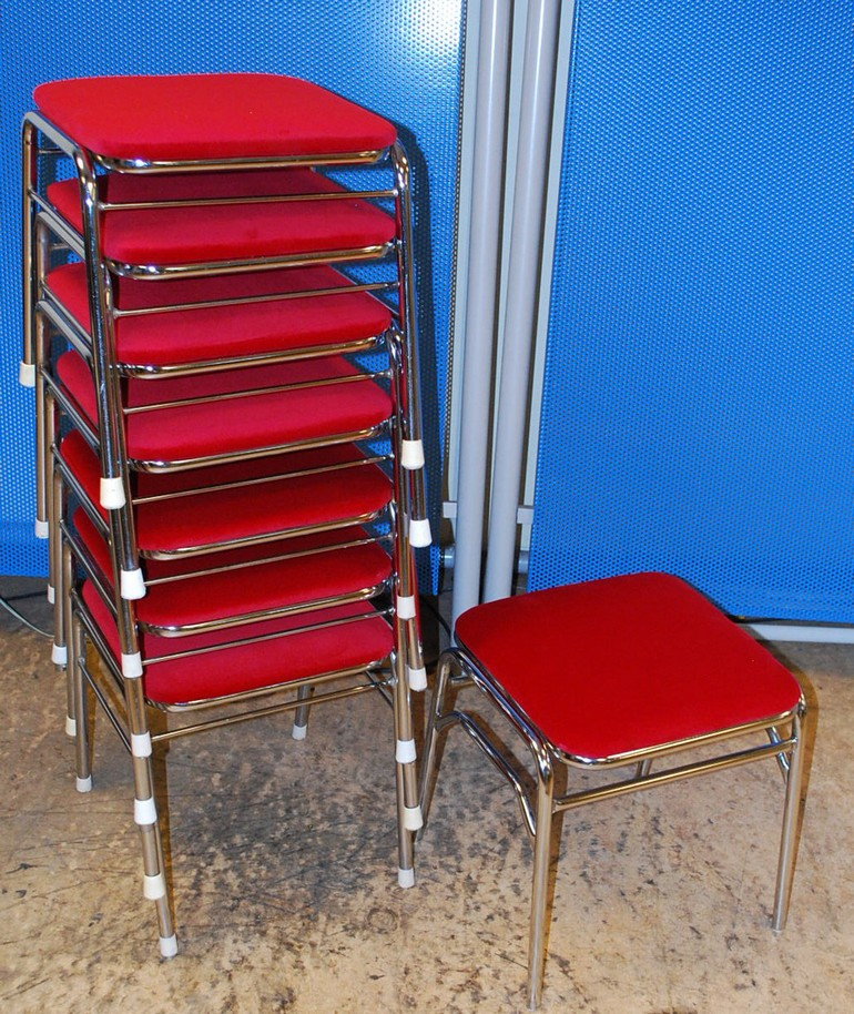 [For Sale] 7 Red Arcade Chairs Stools